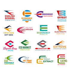 letter e corporate identity business icons vector image