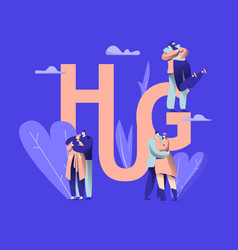 love couple character hug banner happy lover vector image