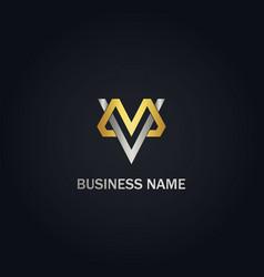 M v initial company gold logo vector