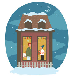 man and woman giving presents on new year or xmas vector image