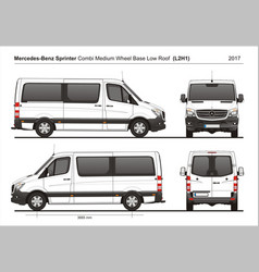 Mercedes sprinter mwb low roof van l2h1 2017 vector