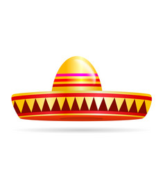 Naturalistic colorful sombrero on white background vector