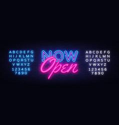 Now open neon text design template now vector