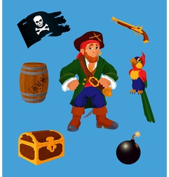 Pirate set design elements vector image
