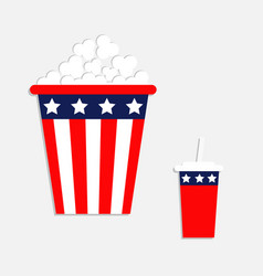 popcorn soda straw icon cinema icon in flat vector image