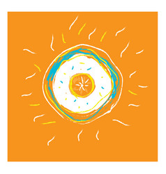 Portrait an orange fruit from top or color vector