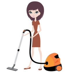 Pretty girl with vacuum cleaner vector