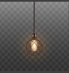 realistic round electric lamp with glowing light vector image