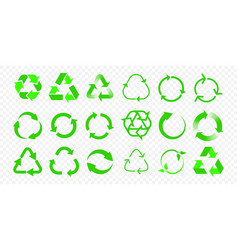 recycle icons reuse eco arrow and bio garbage vector image