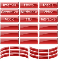 Red Glass Buttons vector image