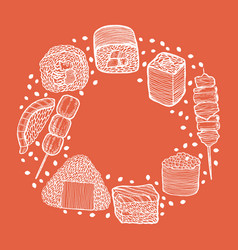 round composition with japanese food in hand-drawn vector image