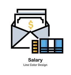 Salary line color icon vector