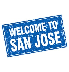 San Jose blue square grunge welcome to stamp vector