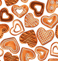 seamless pattern watercolor heart cookies vector image
