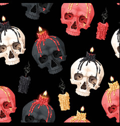 Seamless pattern with skull and candle vector