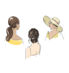 set different female summer hairstyles vector image