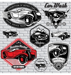 Set emblems with retro car on wall vector