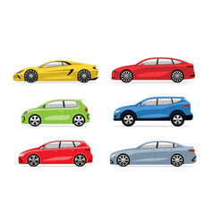 set modern cars in flat style isolated on white vector image