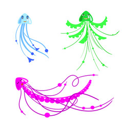 set of cartoon jelly fish for children in vector image