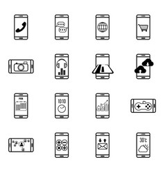Set of mobile function line icon vector