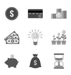 set of money icons and symbols in trendy flat vector image