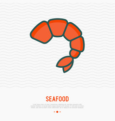Shrimp thin line icon modern vector