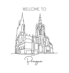 Single continuous line drawing prague castle vector
