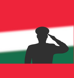 solder silhouette on blur background with hungary vector image