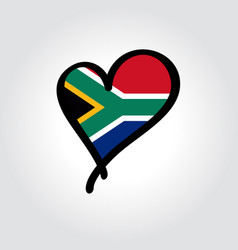 South african flag heart-shaped hand drawn logo vector