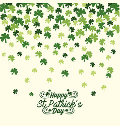 st patrick celebration with clovers and sticker vector image