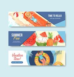 Summer banner template design for advertising vector