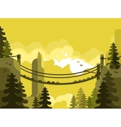 Suspension bridge design flat vector image