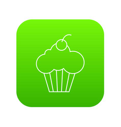 sweet cupcake icon green vector image