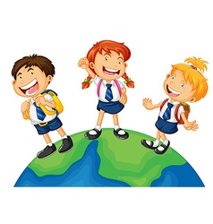 Three kids in school uniform standing on earth vector