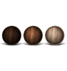 three wooden covers for barrels different wood vector image