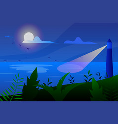 Tropical landscape view from shore with vector