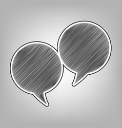 two speech bubble sign pencil sketch vector image