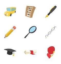 University icons set cartoon style vector