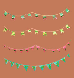 Watercolor vintage flags garlands set in party vector