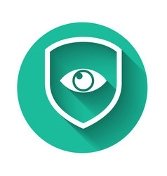 white shield and eye icon isolated with long vector image