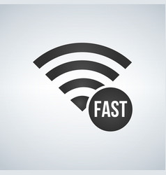 wifi connection signal icon with fast sign in the vector image