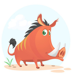 Wild boar or wild pig cartoon vector