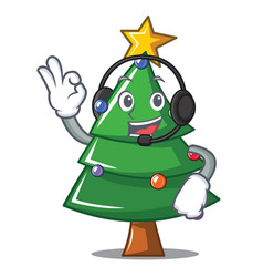 With headphone christmas tree character cartoon vector