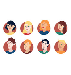 Young people avatar icon set vector