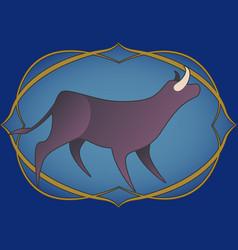 zodiac sign taurus bull inside in an ornamental vector image