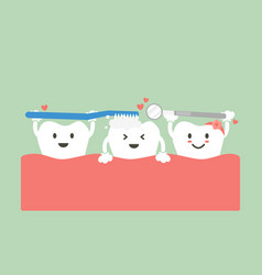 cute group friend of tooth are brushing teeth vector image