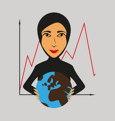 flat icon on theme arabic business woman and vector image