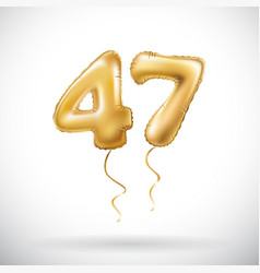 Golden number 47 forty seven metallic balloon vector