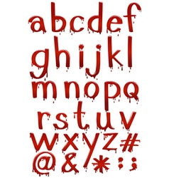 Letters of the alphabet in bloody template vector