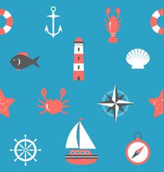 marine seamless pattern nautical background sea vector image